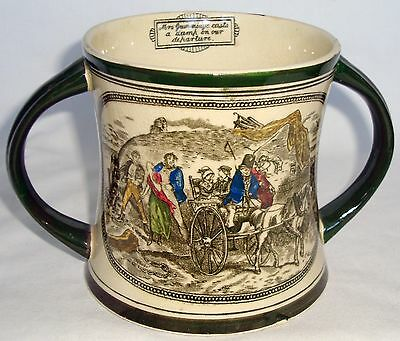 Antique Adams Tunstall Twin-Handled Cup, Dickens Oliver Twist Illustration