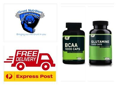 Optimum Nutrition 1000 Caps BCAA and Glutamine 60 Capsules FREE EXPRESS POST