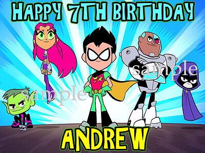 Teen Titans GO Personalized Edible CAKE Topper Icing Image FREE SHIPPING