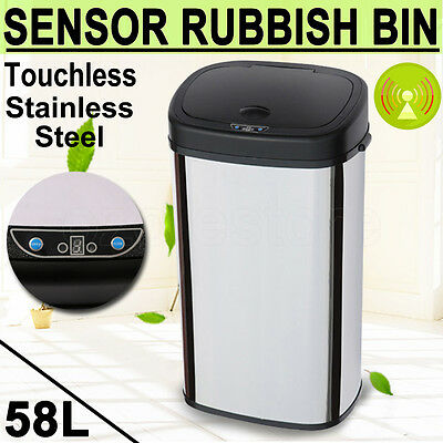 Touchless Stainless Steel Automatic Infrared Motion Sensor Rubbish Waste Bin 58L