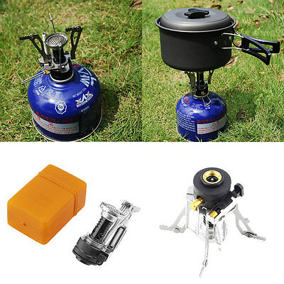 Folding Mini Camping Survival Cooking Furnace Stove Gas Burner Outdoor HR