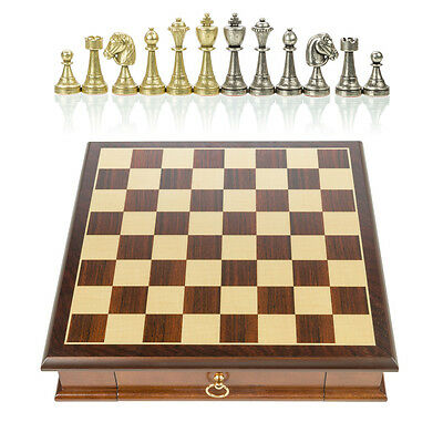 NEW Italfama Chess Set with Drawer & Metal Pieces