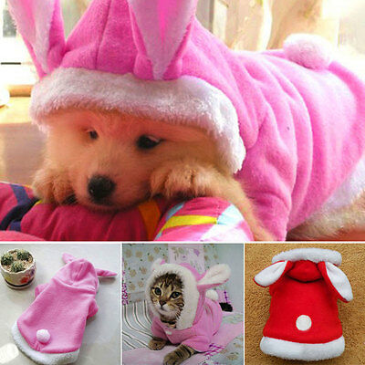 Cute Pet Warm Fleece Clothes Puppy Dog Coat Pink Hoodie Clothes Outfit XS/XL JN