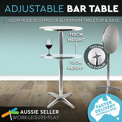 Bar Table Adjustable Aluminium Garden Outdoor Indoor Cafe Pub Round Two Height