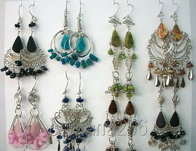 100 pair ALPACA EARRINGS WITH PERUVIAN STONES MIX DESIGNS Peruvian jewelry