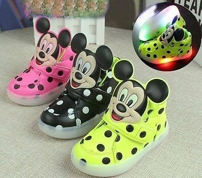 NEW Very Cute Mickey Mouse Baby Toddler Kids Led Lights Baby Shoes UNISEX HOT