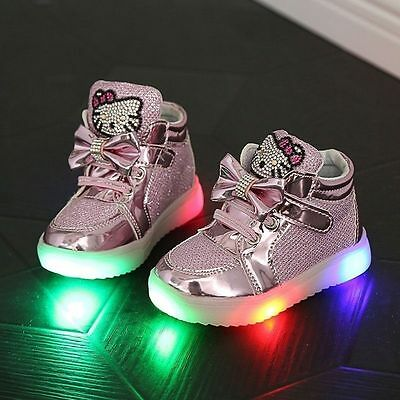 NEW Very Cute Hello Kitty Baby Toddler Kids Led Lights Shoes with Rhinestone HOT