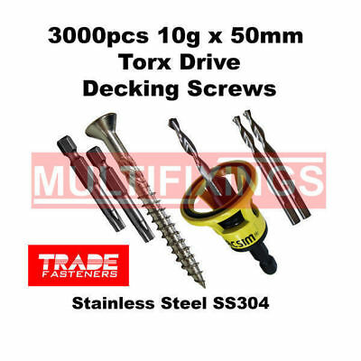 3000pcs - 10g x 50mm Stainless SS304 Torx Head Decking Screws + Macsim Clever To