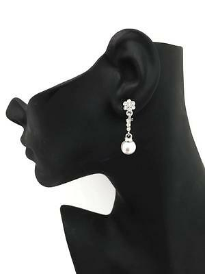 Elegant Crystal Pearl Clip On Dangle Drop Earrings Bridal Prom Silver Tone
