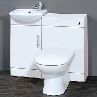 Gloss White 400 Vanity Unit & Basin, WC Unit BTW Toilet, Seat and choice of Taps