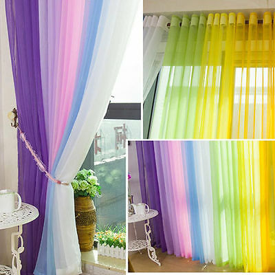 Tulle Voile Door Window String Curtain Drape Panel Sheer Scarf Divider Solid