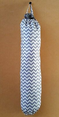 Handmade Chevron zig zag grey cotton fabric Plastic Grocery Holder stock bag