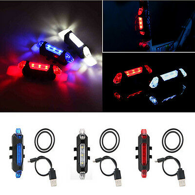 New USB Charger Mountain Bike Bicycle Tail Rear Safety Warning Light Alarm Lamp