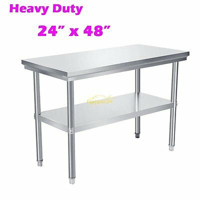 "Portable Stainless Steel Commercial Kitchen Restaurant Work Prep Table -24""x48"""