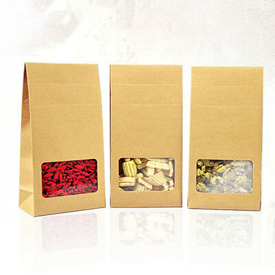 Side Gusset Kraft Paper Packaging Bags With Window Food Grade Pouches