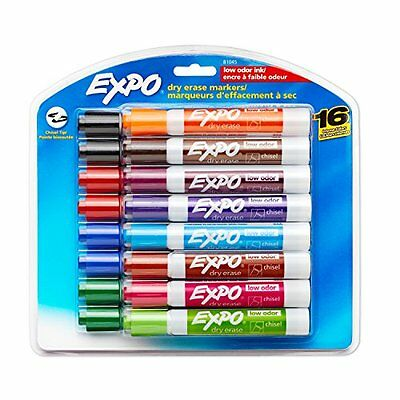 Expo 2 Low-Odor Dry Erase Markers, Chisel Tip, 16-Pack, Assorted Colors