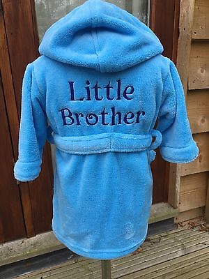 Boys dressing gown 12-18m to 5-6y little brother gift design fleece personalised