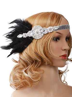 Great Gatsby 1920s Vintage Flapper Headband Hair Accessories Feather Headgear