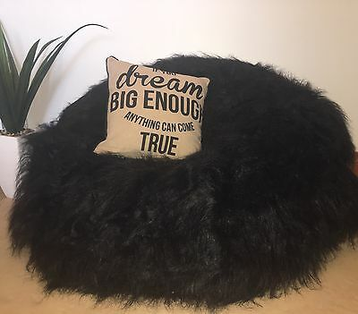 BLACK Shaggy Luxury Soft Fur Bean Bag Cover HOME Lounge RELAX TV MOVIE  Chair