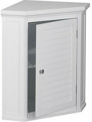 best sneakers a8fb4 8a378 BATHROOM CORNER WALL Cabinet Modern White Wood Medicine Chest 2 Storage  Shelves