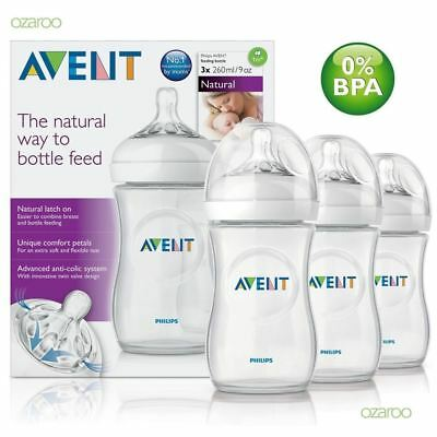 Philips AVENT SCF693/37 Natural Feeding Bottle Triple Pack 3 Bottles Set