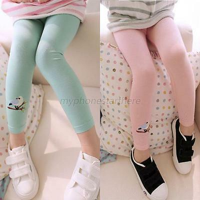 Baby Girls Bird Pattern Tights Leggings Kids Stretchy Skinny Pants Trousers NEW
