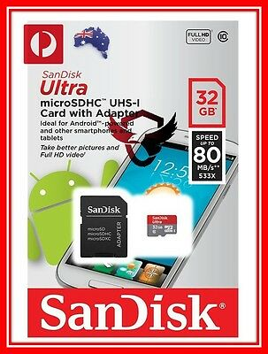 SanDisk 32GB Ultra Micro SD SDHC 80MB/s Class 10 UHS Extreme Mobile Memory card
