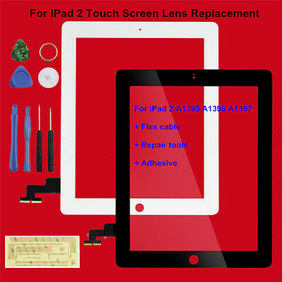 For iPad 2 Touch Screen Glass Lens Replacement+Digitizer Flex cable+Repair tools