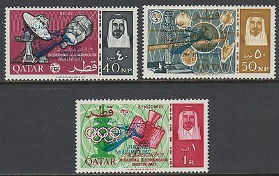 Qatar 1966 ** Mi.99/101c Space Weltraum Gemini with BLUE ovpt.