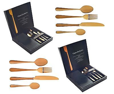 Viners Exclusive 16 Piece 18/10 SS Cutlery Set in Gold or Copper/Rose Gold
