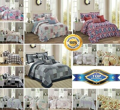 Bedspread Pillow Shams Bed Throw Vintage Comforter Printed Patchwork 3 Piece Pc