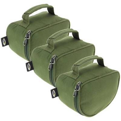 3 X Green Deluxe Fishing Reel Cases For Coarse Carp Fishing Reels Tackle NGT