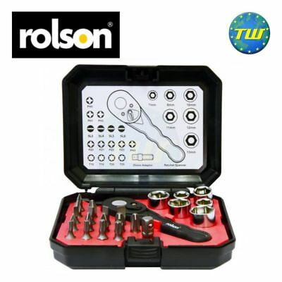 Rolson 24pc Ratchet Multi Bit & Socket Set with Handy Compact Storage Tool Case