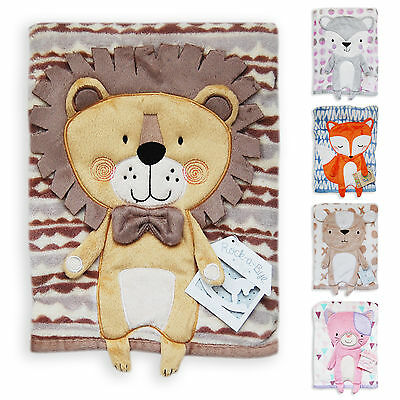 Super Soft Baby Fleece Blanket, Boutique Quality, With 3D Animal Design 100x75cm