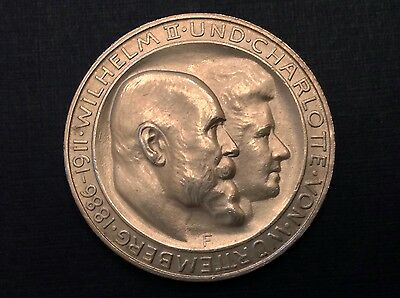 - Germany 1911 3 Marks Wurttemberg Silver Wedding Commemorative Uncirculated Unc