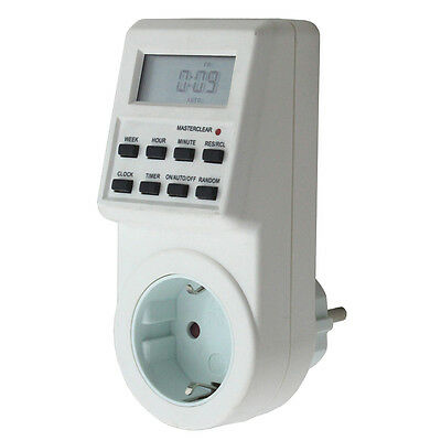 Programmable Digital Electronic 12/24 Hour Timer Switch Socket EU Plug-in 7 Day