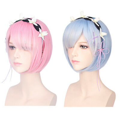 35CM Ram Rem Cosplay Wigs Short Heat Resistant Bob Hair with Adornment