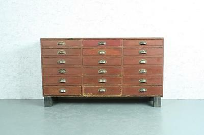 Vintage Industrial Painted Chest Haberdashery 18 Drawers #1791