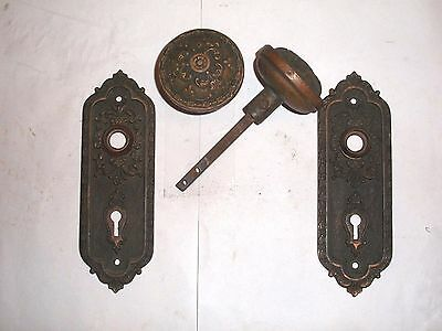 Antique Victorian Renaissance Era Matching Door Knob Backplate Set