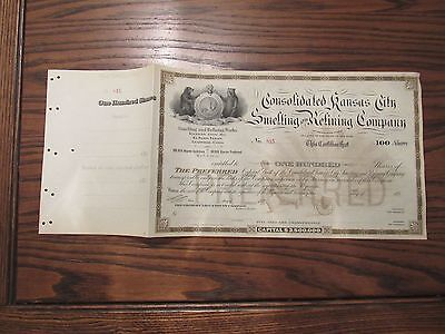 Consolidated Kansas City Smelting & Refining Common Stock Certificate -Unissued