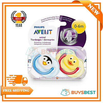 Philips AVENT BPA-Free Animal Soothers 0-6 Months, 2 Pack (Assorted) SCF182/33