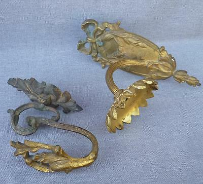 2 antique french hardware lot made of bronze 19th century signed hook lamp