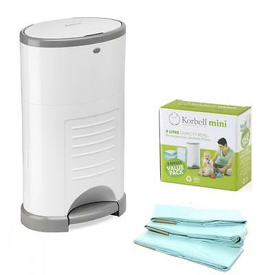Korbell Nappy Disposal Bin Hands Free Bins Biodegradable Liners - Mini 9 Litre