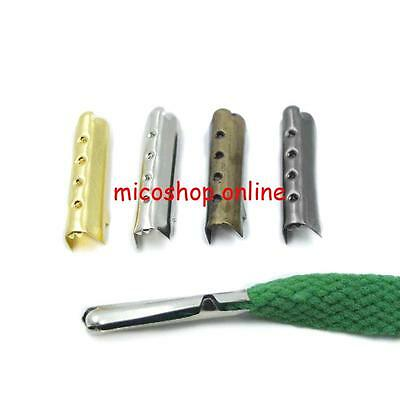 Shoelace Aglet Metal Lock Clips Tip Ends Bullet Replacement 4 Shoe Lace MMMM