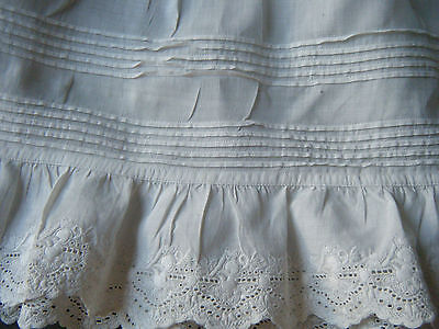 Antique Victorian gathered white skirt 5 year old girl beautiful embroi/ry lac