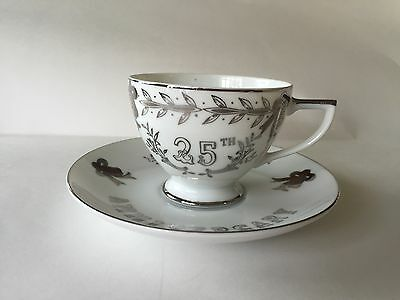 Lefton China Hand Painted Tea Cup & Saucer 25th Anniversary Vintage