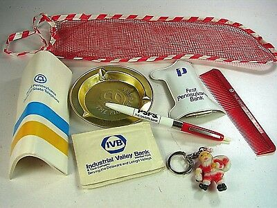 Rare Vintage  Pennsylvania Banks Mesh Stocking Filled With Banking Related Items