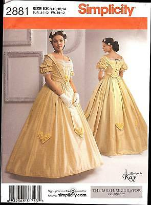 PATTERN for Civil War Southern Belle dress Historical Simplicity 2881 sz8-14 OOP