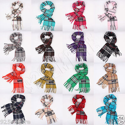 Men Women 100%CASHMERE Winter tartan stripe Plaid Scarf