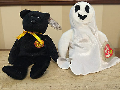 TY Halloween Beanie Babies Haunt The Bear And Sheets The Ghost